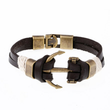 ZOSHI Brown Genuine Leather Bracelets Charm Mens Jewelry Anchor Male Accessories