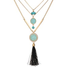 2017 New Tassel Jewelry Women Statement Necklace Boho Alloy Faux Stone Pendant Female Girls Long Turquoises Necklace for Dress