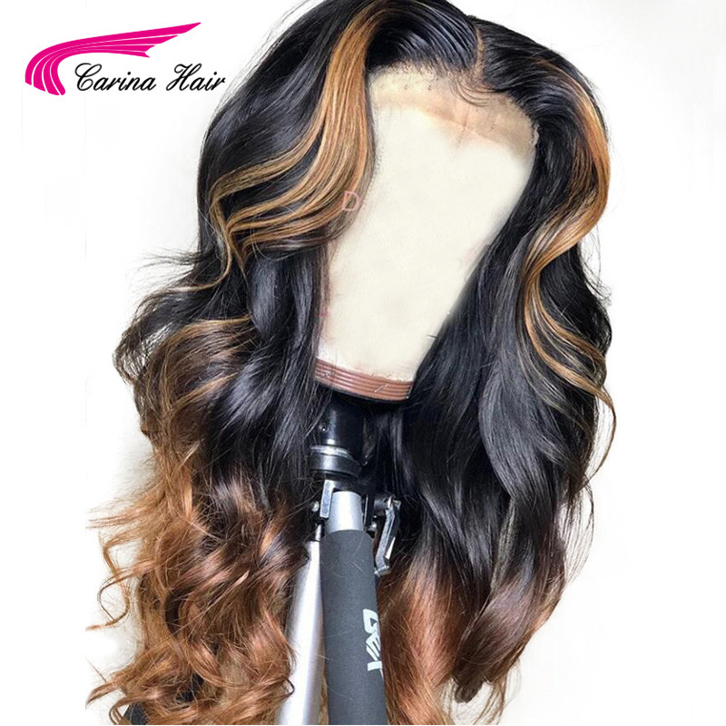 Carina Brazilian Loose Deep Lace Front Human Hair Wigs  PrePlucked Honey Blonde Remy Ombre Color Glueless Wig With Highlight(China)