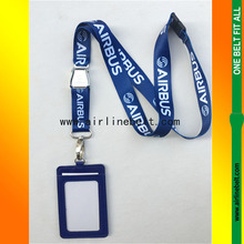 53cm length ID badge card holder with aircraft seat belt buckle AIRBUS lanyard(China)