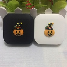 LIUSVENTINA DIY resin Halloween Pumpkin Wizard hat contact lens case for eyes contact lenses box for glasses spectacle case