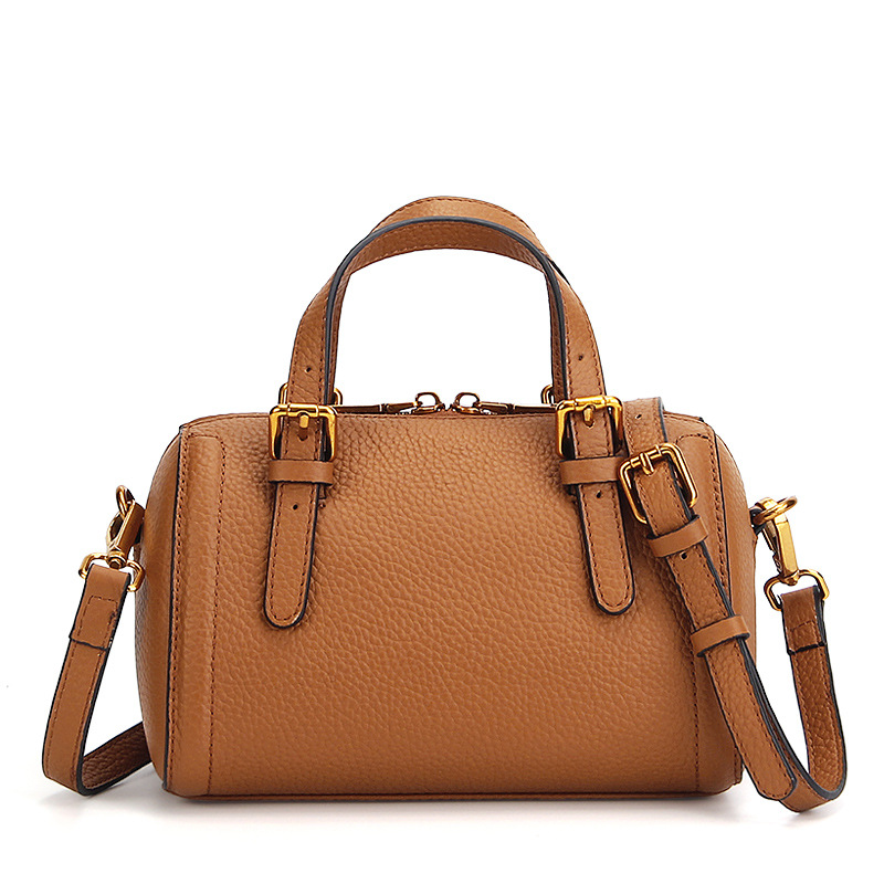 New Fashion Vintage Genuine Leather Women Bag Litchi Pattern Handbags Small Women Messenger Bag Cow Leather Shoulder Bags Boston<br>