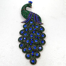 Antique copper Wedding Party brooch Blue Green  Rhinestone Huge big peacock Pin brooches C762 Bm3