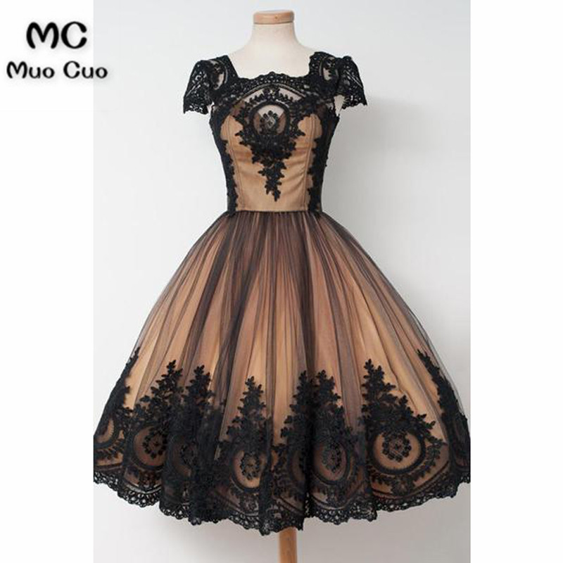 Knee-Length Square Cap Sleeves Ball Gown Homecoming Dress With Lace