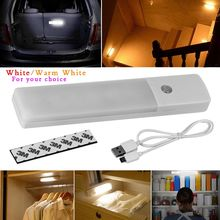 New USB Rechargeable 6LED Wireless Motion Sensor Nightlight Closet Cabinet Wall Lamp PIR Infrared Night Light 2 Colors