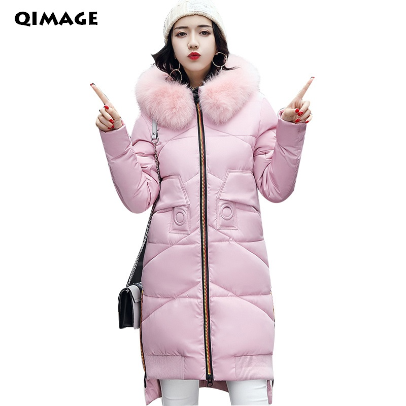 QIMAGE Women Winter Coat Jacket Warm Parkas Female Overcoat High Quality Quilting Parka Cotton Coat 2017 CollectionÎäåæäà è àêñåññóàðû<br><br>