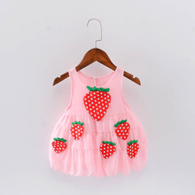 Girl Party Dress Sleeveless Gown Strawberry Costume For Kids Bow Fashion Child Dresses Children Princesse 2017 Girls Clothing