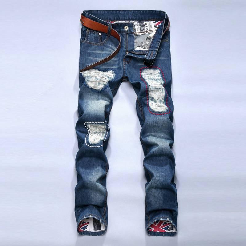 #1537 2017 Distressed jeans men Fashion High street Slim jeans Straight Men biker jeans Skinny Ripped jeans for men Destroy WashОдежда и ак�е��уары<br><br><br>Aliexpress
