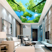 beibehang custom mural wallpaper blue sky white cloud sky flying pigeon background wall ceiling murals wall paper home decor(China)