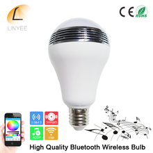 2017 Smart Wireless Bluetooth 4.0 Audio Speakers Lamp Dimmable E27 LED RGB Light Music Bulb Color Changing via WiFi App Control(China)