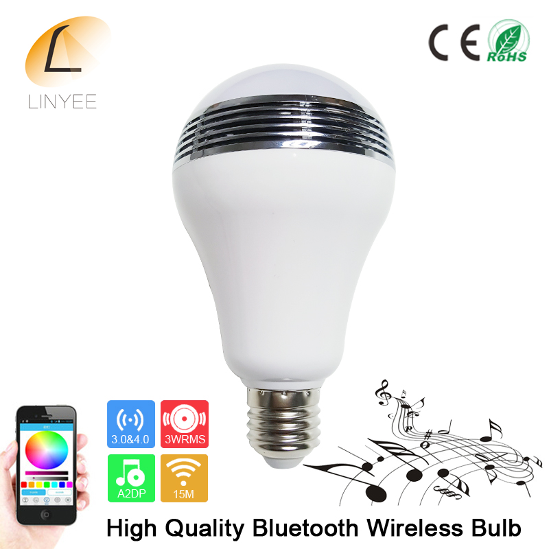 2017 Smart Wireless Bluetooth 4.0 Audio Speakers Lamp Dimmable E27 LED RGB Light Music Bulb Color Changing via WiFi App Control(China (Mainland))