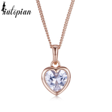 Iutopian Rose Gold Color Heart Pendant Necklace With Top Quality CZ Anti Allergy Gift For Lover #RA33315