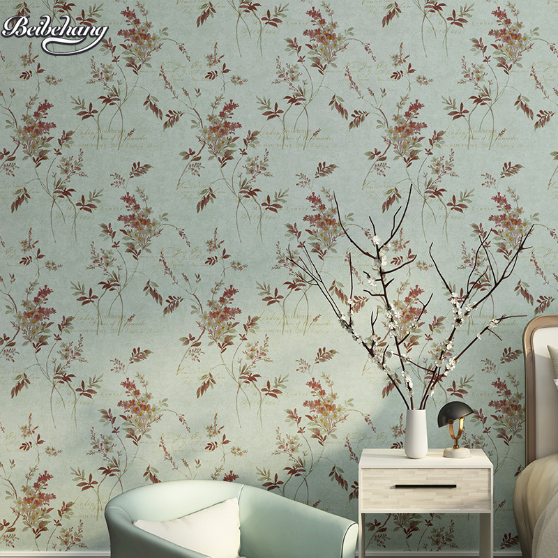 beibehang Korean pastoral foliage leaves nonwovens wallpaper warm bedroom  hotel background wedding room english letter<br>
