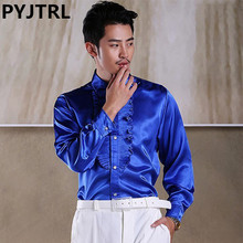 PYJTRL Mens Colour Lotus Leaf Length Sleeve Satin Shiny Shirt Stage Show Clothing Student Red Song Chorus Singer Blusas Blouse(China)