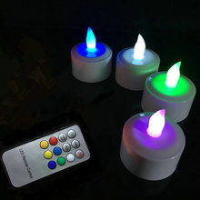 set of 4 Remote Control Rechargeable TeaLight LED Candles frosted Flameless candle lamp Xmas Bar Party Wedding Church-Multicolor