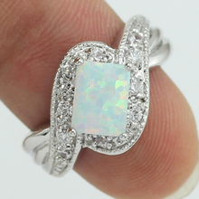 Free Shipping Wholesale Retail Four Claw Inlay 5 x8MM Princess White Fire Opal AAA CZ Rings Size 5 / 5.5 / 6.5 / 7.5 / 8.5 78WD