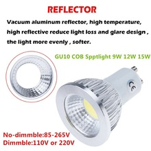 50X DHL Newest Product GU10 9W 12W 15W Dimmable LED COB 110V 220V Spotlight Lamp Bulb Warm White /Cool White /White LED Lighting