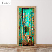 YunXi 2017 New 3D Door Affixed Green Old Wooden Door Stickers Living Room Bedroom Background Wall Decoration Pvc Wall Stickers(China)