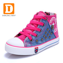Fashion Rivet Kids Shoes New 2017 Breathable Canvas Rubber Children Shoes Zip High Top Brand Patchwork Boys Girls Sneakers