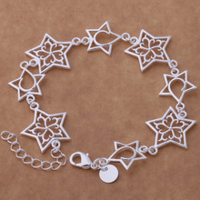 Exquisite Silver Plated Jewelry Hollow Star Bracelet Loving Gift For Women AB188