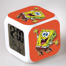 Night Light Clock SpongeBob Popular Square LED Colorful Digital Electronic Clock America Anime Toys Small Gift #F