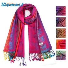 Hot Autumn Winter Hot Lady Women Double Sided Elephant National Wind Scarf Wrap Shawl WAug3 Drop Shipping