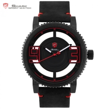 Megamouth Shark Sport Watch Black Red 3D Special Transparent Designer Top Brand Luxury Leather Band Quartz Mens Watches /SH542