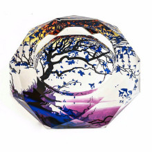 2015 new wishing tree crystal ashtray creative tree design K9 crystal ashtray round glass Cigarette Cylinder(China)