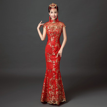 Chinese Traditional Dress 2017 Fashion Sequins Bride Wedding Qipao Red Cheongsam Dress Chinese Dresses Qi Pao Robe Orientale