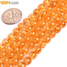 Gem-inside AAA Grade Genuine Natural Round Smooth Yellow Citrines. Precious Stone Beads for Jewelry Making DIY Jewellery