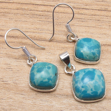 MATCHING & Pendant , Silver Plated LARIMAR Jewelry 1 1/4 Inches Jewelry Set Variation(China)