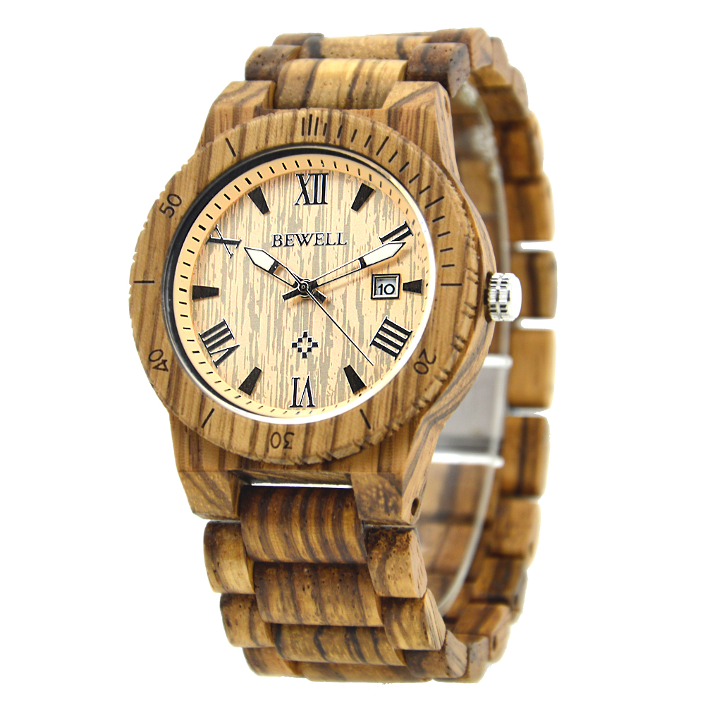 BEWELL relogio masculino de luxo horloges manne Wood Watch Men Top Luxury Men Wristwatch Wood Hand Clock Reloj Hombre 109B<br>