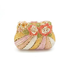 Boutique De FGG Multi Flower Rose Women Mini Crystal Evening Minaudiere Bag Metal Hardcase Wedding Party Handbag Purse