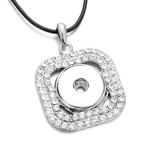 Hot Sale Snap Necklace Full Rhinestone Square Pendant Silver Color fit 18mm Snap Buttons for Snap Jewelry(China)