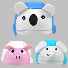 XREOUGA New 3D Cute Animal Lycra Fabric Protect Ears Long Hair Sports Swim Pool Hat Swimming Cap For Kids(China)