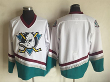 "Men""s Mighty Ducks Jersey Blank Stitched Mighty Ducks Hockey Jersey White Black Throwback Hockey Jersey S-3XL(China)"