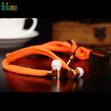 Briame Metal Shoelaces Earphones In-Ear Stereo Bass Headset Sport Headphones with Microphone for iphone 5 5S 6 6S Samsung Xiaomi(China)