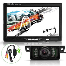 "Auto 7"" TFT LCD Car Rear View Backup Monitor+Wireless Parking Night Vision Camera Kit feb20"