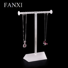 FANXI Free shipping custom Matte acrylic  display stand for jewelry shop counter exhibitor frosted acrylic necklace rack