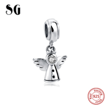 Hot sale 925 Sterling Silver angel Original Charms beads Fit Pandora Bracelet Pendant Authentic beads Jewelry making women Gifts(China)