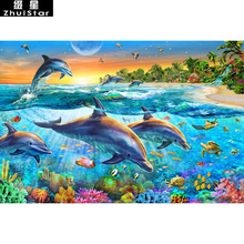 5D DIY Diamond Painting Sea World Dolphin Embroidery Full Square Diamond Cross Stitch Rhinestone Mosaic Painting Home Decor Gift