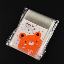 100pcs/lot Food Packaging Bags Cookie Mini Bear Print Self-adhesive Plastic Candy Cake Cookies Bags Christmas gifts Bags