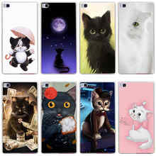 94GG funny The Cute Grey Cat Hard Transparent Cover for Huawei P7 P8 P8 P9 Lite Honor 4C 5C 6 7 8 & Nova