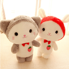 "1pcs 10"" 25cm Super Q little kitty strawberry cat sheep rabbit bear soft plush toy stuffed doll birthday gift"