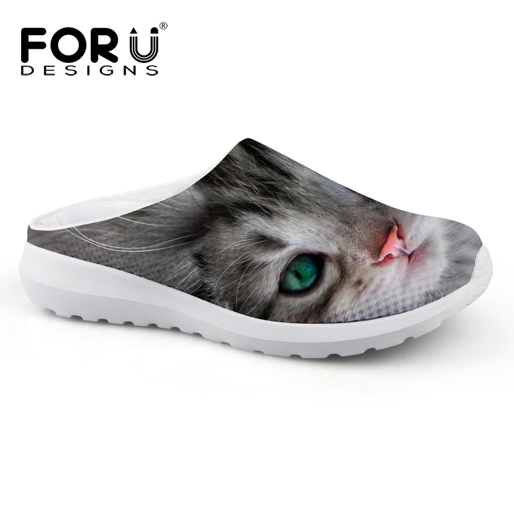 FORUDESIGNS Cute 3D Animal Printed Women Summer Sandals Comfort Breathable Female Slip on Beach Water Shoes Pet Cat Mesh Sandals<br><br>Aliexpress