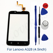 "4.5"" A 328 Touch Panel Screen Sensor Front Glass For Lenovo A328 A328t Touchscreen Digitizer LCD Display Glass Cover Replacement(China)"
