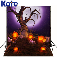 Halloween Backdrop Lantern Pumpkins Skull Halloween Photo Background Purple Moon Sky Night Background Customize Backdrop(China)