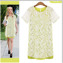 Free shipping The new charge waist round collar short sleeve chiffon lace embroidered dress(China)