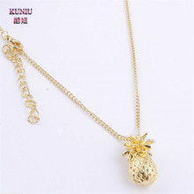 KUNIU Tiny Pineapple Fruit Cute Charm Long Chain Necklace Jewelry Fashion Gift for Women(China)