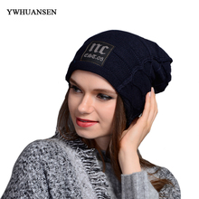 YWHUANSEN Winter Brand New Unisex Skullies Beanies Plus Velvet Warm Winter Hat For Women Girl's Knitted Caps Thick Male Chapeu(China)